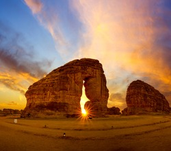 Elephant rock outcrop geological formation at Sunset near Al Ula, Saudi Arabia