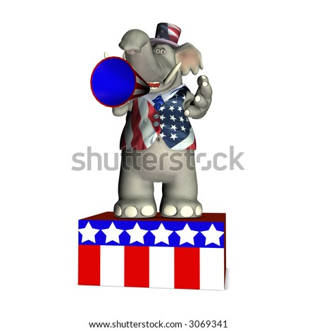 Elephant standing on a platform speaking through a megaphone. Republican. Political humor.