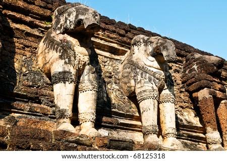 Elephant stucco decoration around the pagoda in the world heritage site, Kamphaeng Phet.