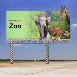 Elephant, tiger and giraffe in the zoo on outdoor billboard