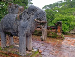 Elephant warrior Statue Khai Dinh Royal Tomb in Hue, Vietnam