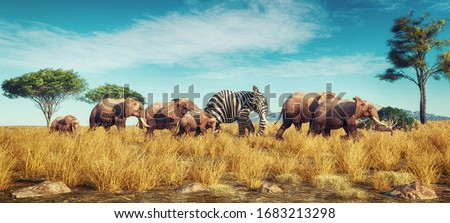 Elephant with a zebra skin into a crowd . Think outside the box concept . This is a 3d render illustration Foto d'archivio ©