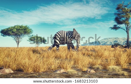 Elephant with a zebra skin walking in savannah . This is a 3d render illustration Сток-фото ©