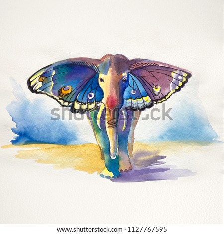 Elephant with butterfly wings. Fantasy animal made in watercolor. Hand drawn illustration