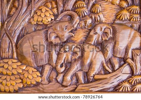 Elephant wood carving from Thailand.