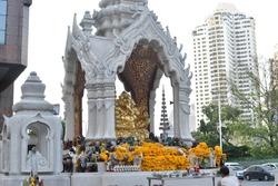 elephant wood offering offertory sacrifice thai style with flower elephant - headed god  son of Siva Ganesha