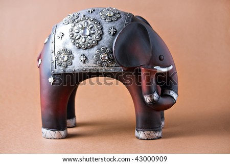 elephant wood toy with ornaments
