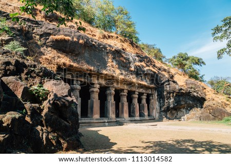Elephanta Caves historical architecture in Mumbai, India Stock fotó ©