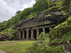 Elephanta Caves, The sculpted caves located on Elephanta Island,east of the city of Mumbai in the Indian state of Maharashtra.UNESCO World Heritage Site.Mumbai,India.