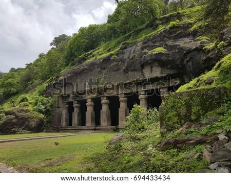Elephanta Caves, The sculpted caves located on Elephanta Island,east of the city of Mumbai in the Indian state of Maharashtra.UNESCO World Heritage Site.Mumbai,India. Stock fotó ©
