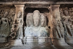 Elephanta Island caves near Mumbai in Maharashtra state, India