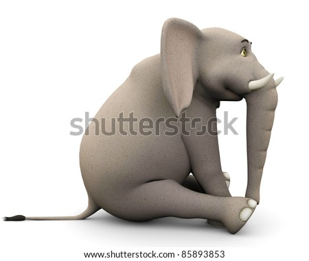elephante cartoon in sit pose side view