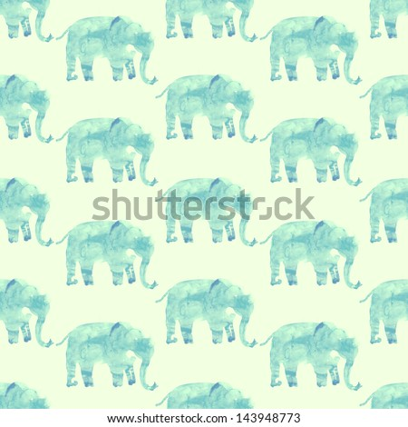 Elephants seamless watercolor illustration