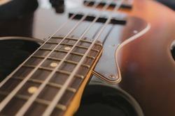 Eletric Jazz Bass Guitar close-up. Music instruments. concept