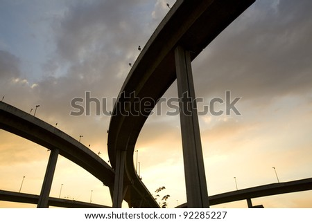 elevated express way at sunset
