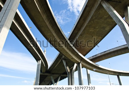 Elevated expressway. The curve of suspension bridge, Thailand. #107977103