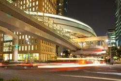 Elevated pathway and Yurikamome monorail at Shiodome Area, Shimbashi, Tokyo, Kanto Region, Honshu, Japan