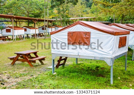 Elevated stationary tents on metal platforms at asian style campsite in Taiwan #1334371124
