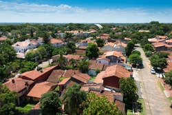 Elevated view of a residential neighborhood in Asuncion, the capital of  Paraguay, with traditional spanish style houses.