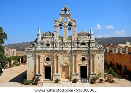 Elevated view of Arkadi Monastery, Arkadi, Crete, Greece, Europe. #636300065
