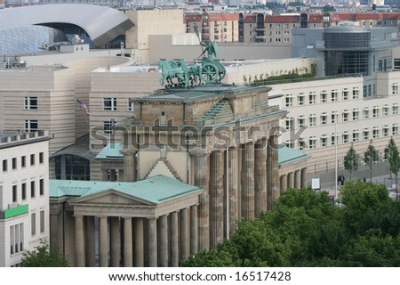 elevated view of Brandenburg Gate Berlin Germany