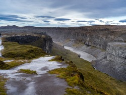 Elevated view of canyon, Rhine Falls, Dettifoss Waterfall, Skutustaoahreppur, Northeastern Region, Iceland