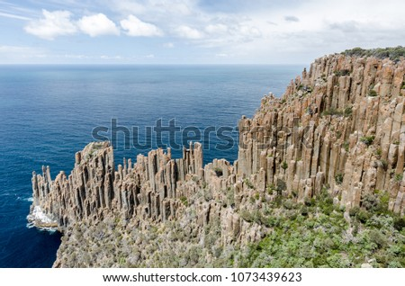 Elevated view of Cape Raoul with its impressive formation of dolerite columns. Tasman National Park, Tasmania, Australia.