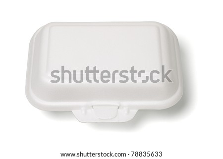 Elevated view of closed Styrofoam box on white background
