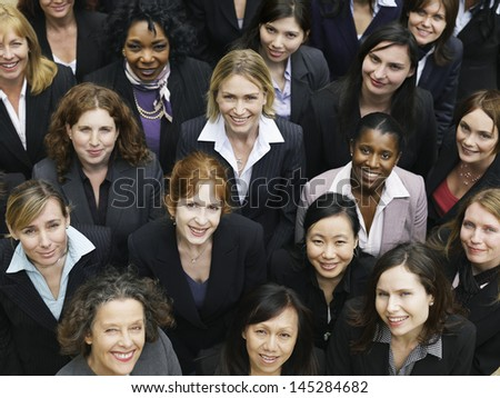 Elevated view of large group of multiethnic business people