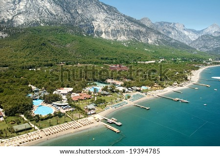elevated view of Mediterranean coast Antalya, Turkey