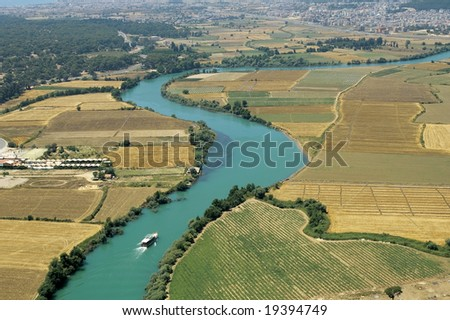 elevated view of river and rural area from Antalya, Turkey