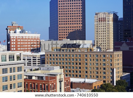 Elevated view of skyscrapers, Hotels and Offices in Midtown Atlanta