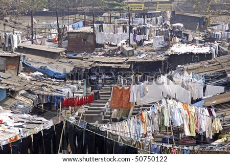 Elevated view of the Dhobi Ghat laundry in Mumbai, India