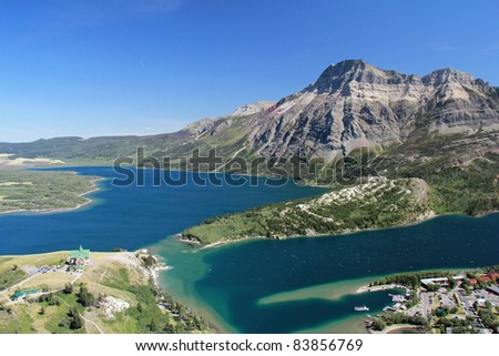 Elevated View of Waterton and Waterton Lakes from Mountain Trail - Waterton Lakes National Park, Alberta, Canada