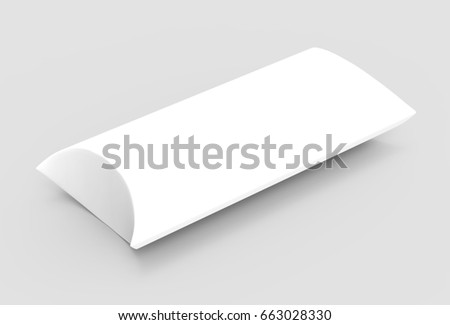 elevated view white 3d rendering left tilt blank pillow box, isolated gray background