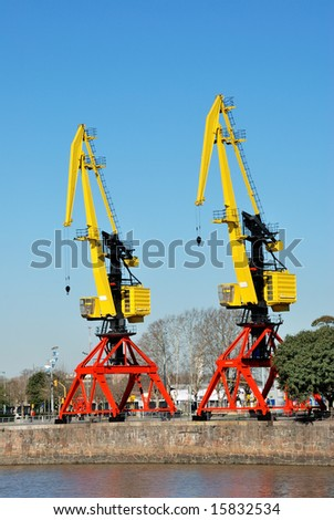 Elevating Cranes on a mooring in Puerto Madero. Argentina