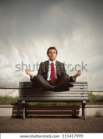 Elevation of a businessman in relax