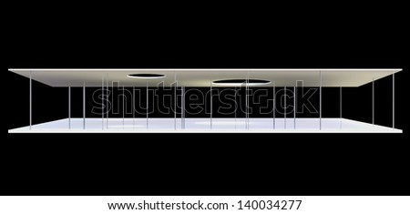 Elevation of Conceptual modern building on black background