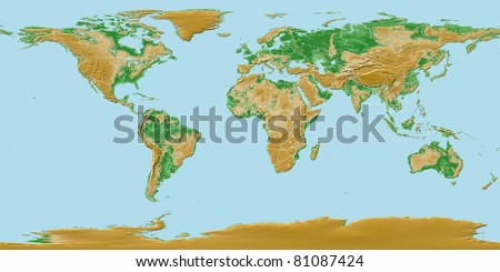 Elevations of earth - worldwide map relief with national borders