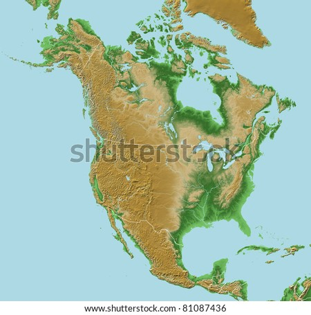 Elevations of North America - map relief with national borders