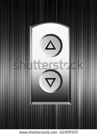 Elevator buttons over chrome background. Illustration