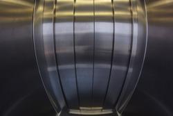 Elevator door interior. Fisheye effect