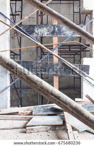 Elevator Door Lift Inside Underconstruction Building Site Steel