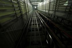 Elevator slots moving upward