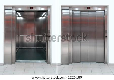 Elevator with open and close door