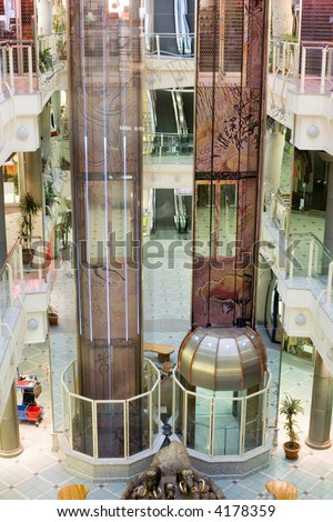 elevators in a multilevel shopping mall