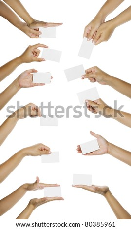 Eleven images of hand giving blank name card isolated over white background. You can put your text on the hand
