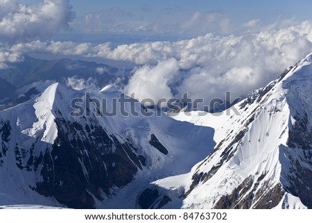Elevens peak (and pass) and Bayankol peak from Khan Tengri peak, Central Tien Shan mountains, Central Asia,  Kazakhstan