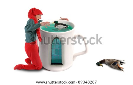 Elf catching ducks in a cup