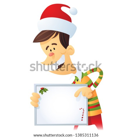 Elf holding a notice board